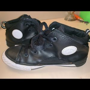 Black Leather Boys Converse All Star High Tops